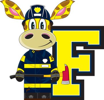 F is for Fireman - Giraffe Firefighter with Axe Alphabet Learning Illustration - By Mark Murphy Creative