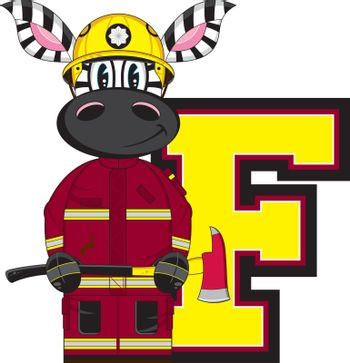 F is for Fireman - Zebra Firefighter with Axe Alphabet Learning Illustration - By Mark Murphy Creative