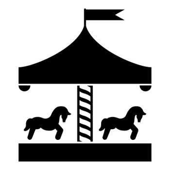 Carousel roundabout merry-go-round Vintage merry-go-round icon black color vector illustration flat style image