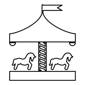 Carousel roundabout merry-go-round Vintage merry-go-round icon black color outline vector illustration flat style image