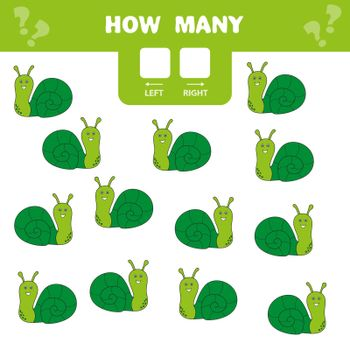 Educational worksheet. Left and right. Count how many