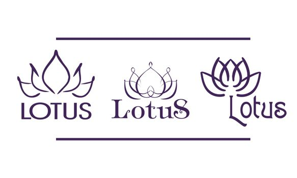 Three options for logos with contoured lotus flower and text