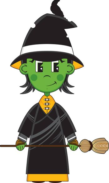 Cute Cartoon Witch with Broomstick - Vector Illustration - By Mark Murphy Creative