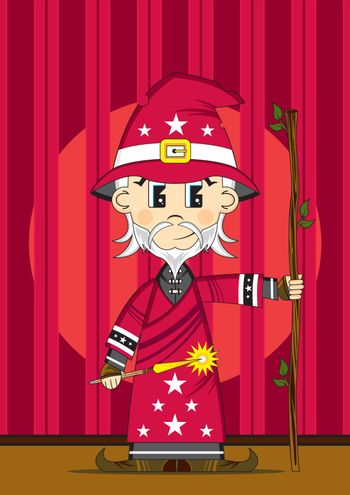 Cartoon Wizard with Magic Wand on Stage - Vector Illustration - By Mark Murphy Creative