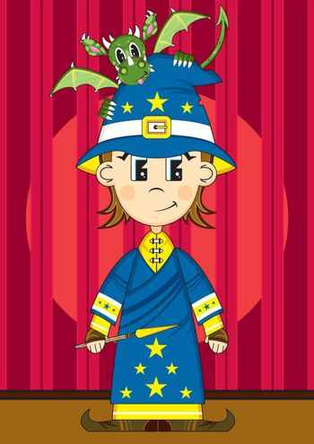 Cartoon Wizard with Dragon and Wand on Stage - Vector Illustration - By Mark Murphy Creative