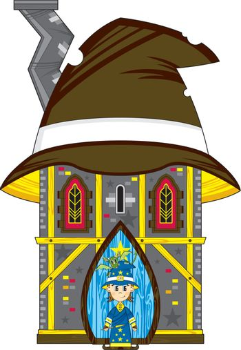 Cartoon Wizard and House - Vector Illustration - By Mark Murphy Creative
