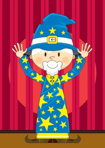 Cartoon Wizard with Hands Up on Stage - Vector Illustration - By Mark Murphy Creative