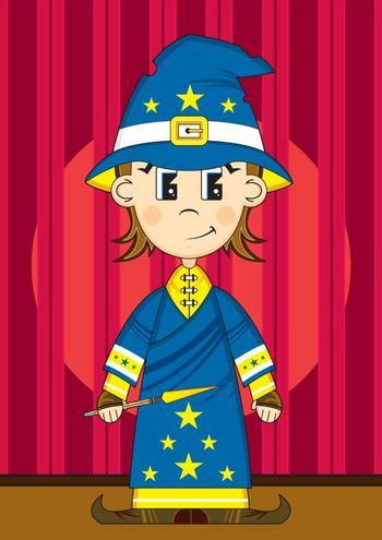Cartoon Wizard with Wand on Stage - Vector Illustration - By Mark Murphy Creative