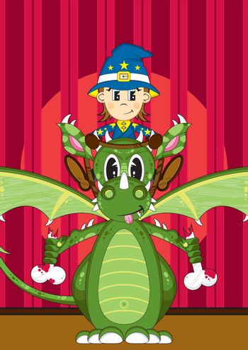 Cartoon Wizard with Dragon on Stage - Vector Illustration - By Mark Murphy Creative