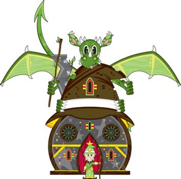 Cartoon Wizard with Dragon and House - Vector Illustration - By Mark Murphy Creative