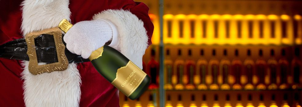 Santa claus in the liquor store holding a champagne bottle with alcoholic drinks background