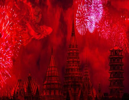 China tradition chinese new year celebration concept chinese towers with fireworks and a big dragon in the sky amazing background