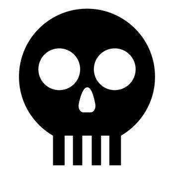 Human skull Cranium icon black color vector illustration flat style image