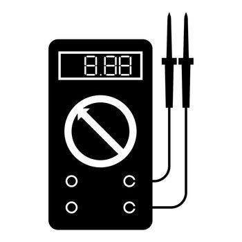 Digital multimeter for measuring electrical indicators AC DC voltage amperage ohmmeter power with probes icon black color vector illustration flat style image