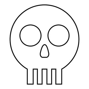 Human skull Cranium icon outline black color vector illustration flat style image