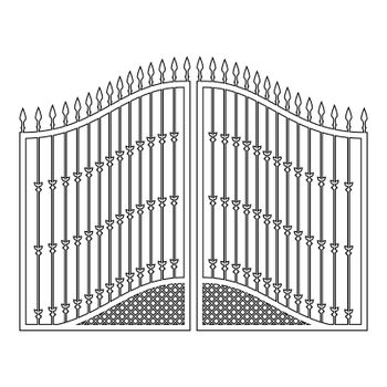 Forged gates icon outline black color vector illustration flat style image