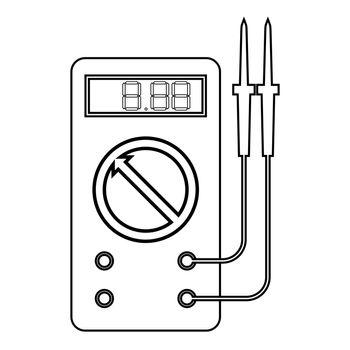 Digital multimeter for measuring electrical indicators AC DC voltage amperage ohmmeter power with probes icon outline black color vector illustration flat style image