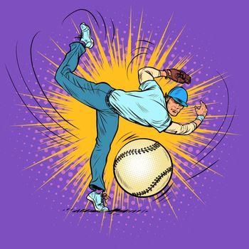Baseball player serves ball