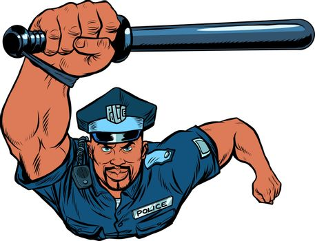 African Police officer with a baton