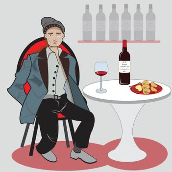 This illustration represents a man while waiting to eat appetizer.