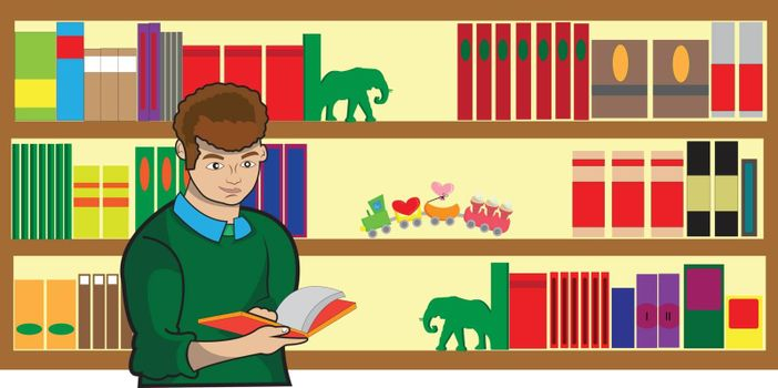 This illustration represents a bookseller while reading a book with a big library full of books.