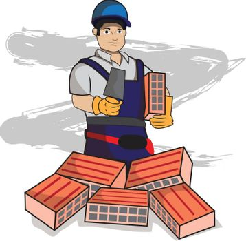 This illustration represents a bricklayer while holding a brick and a spatula with some bricks below.
