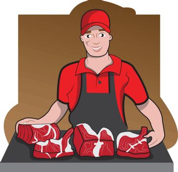 This illustration represents a butcher with suit while presenting aome meat.