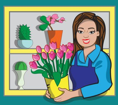 This illustration represents a florist while selling tulips in her flower shop.