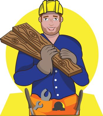 THis illustration represents a woodworker while bringing some wood with yellow background.