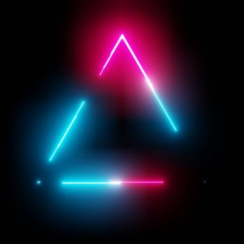 Neon light triangle frame on dark background. 3D illustration