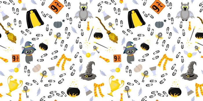 Youth seamless pattern. School of magic and witchcraft. Magical items. Broom for flying, talking hat and mantle of invisibility. Hgwarts Cup and magic wand. Fairytale world of Harry Potter..