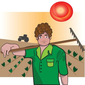 This illustration represents a farmer while holding a rake, with a little tractor in the background.