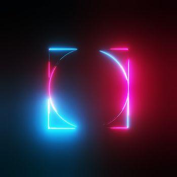 Neon light circle and square frames on dark background. 3D illustration