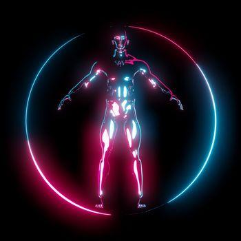 Neon light Vitruvian Man in circle frame on dark background. 3D illustration
