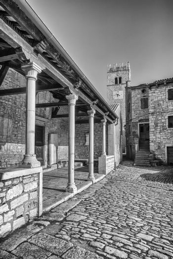 view of Sveti Lovrec and St. Martin's Church bell tower, black and white, Istria, Croatia