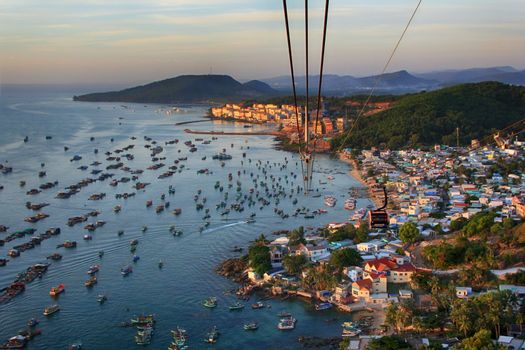 Aerial view of a group of boats at sea in Vietnam, Phu Quoc