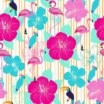 Vector hand drawn seamless pattern with decorative hibiscus flowers and tropical birds. Perfect for invitations, greeting cards, wrapping paper,  scrapbooking, fabric print.