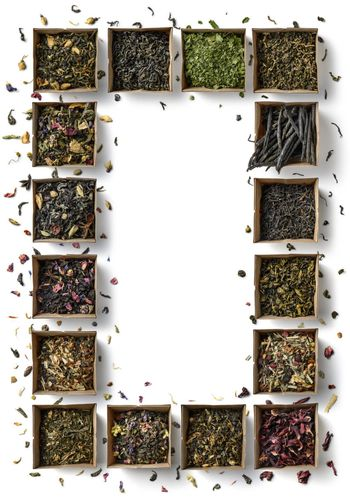 Large assortment of teas in the form of a frame on a white background. The view from the top.