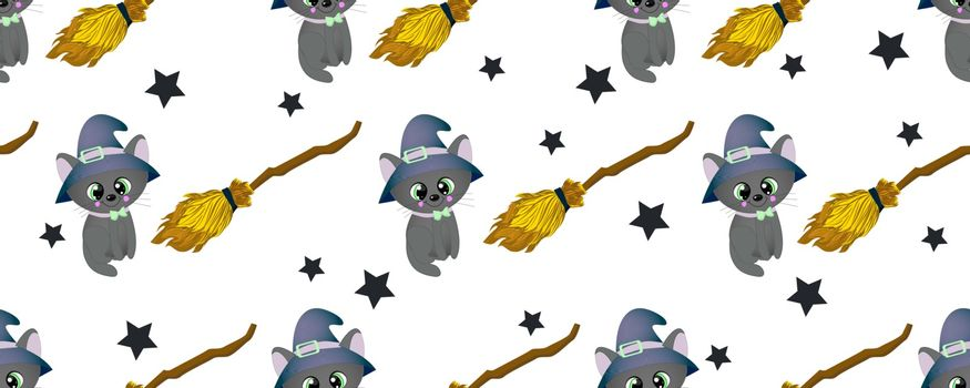 School of magic. MAGIC. The cat is black. Broom for flying. Magic items. Harry Potter and the Hogwarts. Seamless teenage pattern..