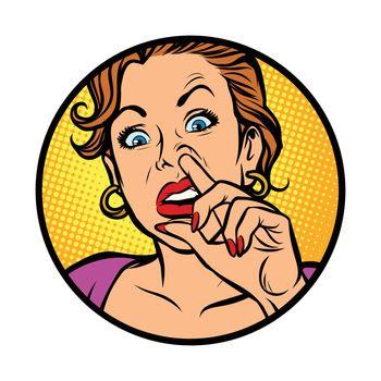Symbol icon.Woman picking nose