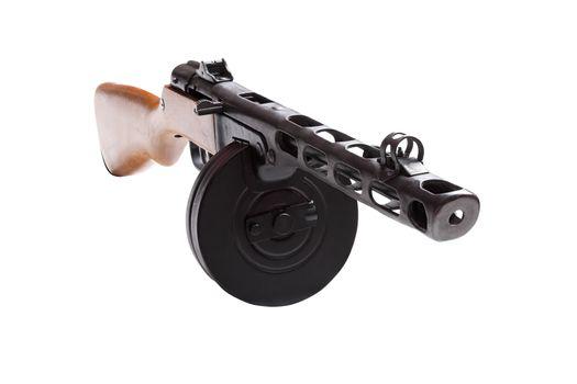 Submachine gun with drum magazine