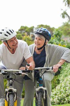 Mature couple biking