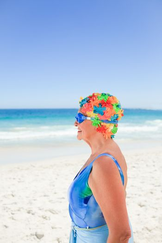 Senior woman in swimsuit