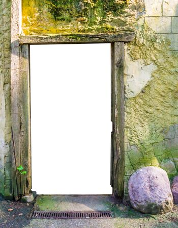 wooden frame in a stone castle wall with the door cut out to put whatever you like