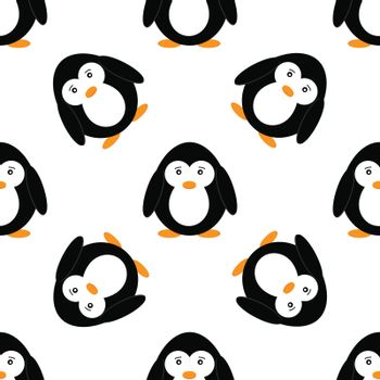 Seamless pattern with penguins. Cute penguin cartoon vector illustration. Winter animals pattern