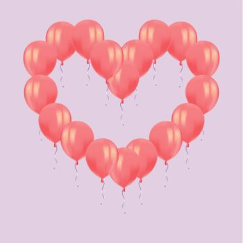 Heart composition of realistic air flying red balloons with reflects isolated on pink background. Festive decor element for Birthday party or balloon greeting card design element. Vector