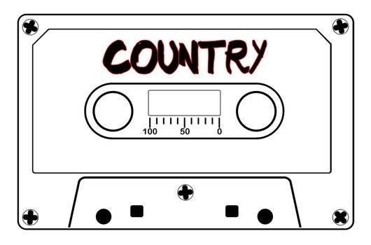 A typical old fashioned audio cassette in black line over a white background with text Country