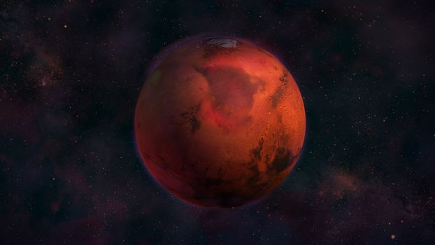 Planet Mars from space with a view of Mare Acidalium