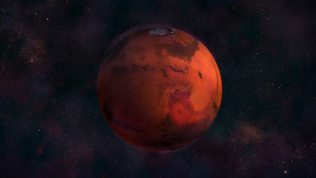 Planet Mars from space with a view of Syrtis Major