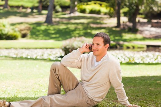 Man phoning in the park